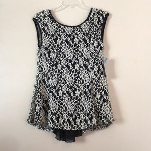 Julie's Closet Sheer Floral Lace and Bow Top XL